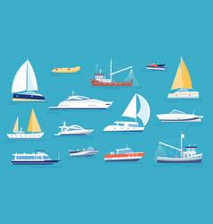 yachts and sailboats small sea transport vector image