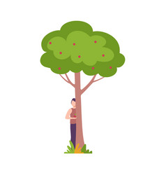Young man standing behind apple tree guy peeking vector