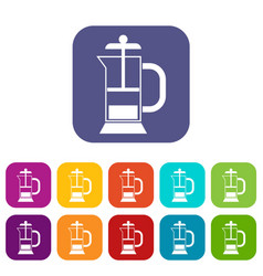 French press coffee maker icons set vector