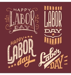 Labor Day vintage hand-lettering designs vector image