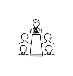 meeting hand drawn sketch icon vector image