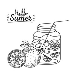 monochrome poster of hello summer with drink vector image