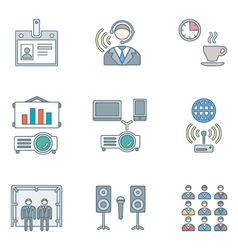 outline colored conference concept icons set vector image vector image