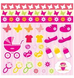scrapbook elements with children accessories vector image
