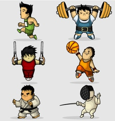Six characters engaged in various sports vector image vector image