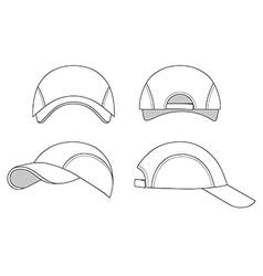Baseball tennis cap outlined template vector