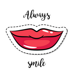 fashion patch element smiling lips vector image vector image