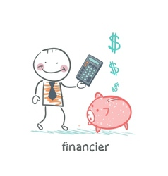 financier with a calculator and piglets piggy bank vector image