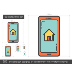 Real estate website line icon vector