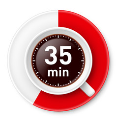 Cup of coffee with time limit for break vector