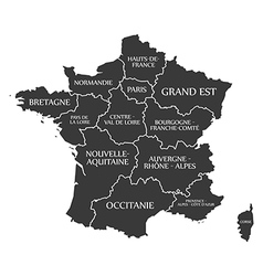 France map with labels black vector image