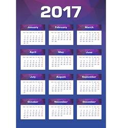 New year calendar 2017 monday first vector