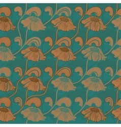 Retro brown flowers on stems Seamless pattern vector image vector image