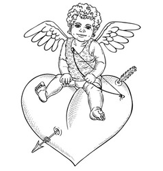 Angel sitting on heart vector image vector image