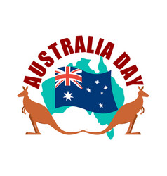 australia day emblem kangaroo australian flag and vector image