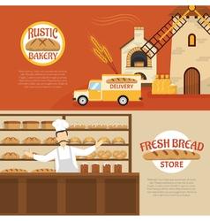 Bakery Horizontal Banners vector image vector image
