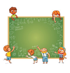 different children draw doodle on school board vector image vector image