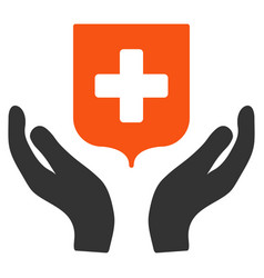 medical shield care hands flat icon vector image