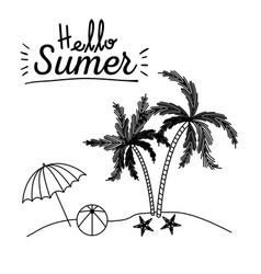 monochrome poster of hello summer with umbrella vector image