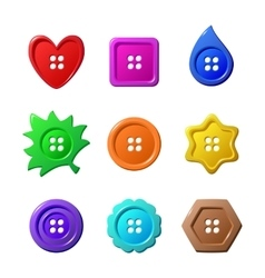 Sewing buttons on white background vector image
