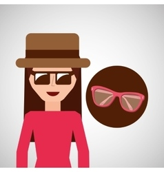 toursit female hat sunglasses elegant vector image vector image