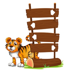 A tiger at the back of signboard vector