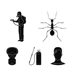 Ant staff in overalls and equipment black icons vector