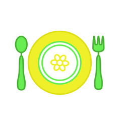 baby plate with spoon and fork color icon vector image