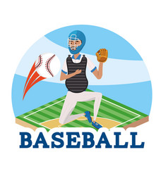 Baseball player with professional uniform in the vector