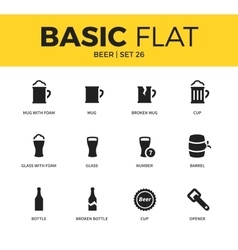 basic set beer icons vector image