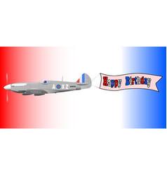 Birthday airplane banner vector