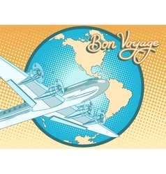 Bon voyage abstract retro plane poster vector image