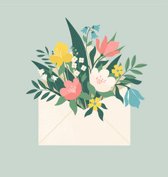 Bouquet spring flowers inside envelope vector