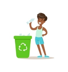 Boy Throwing Recycle Plastic Botlles In Trash Bin vector