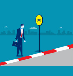 businessman at the bus stop concept business vector image