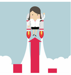 Businesswoman with jetpack and graph fling up vector