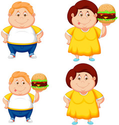 cartoon fat boy and girl with big hamburger vector image