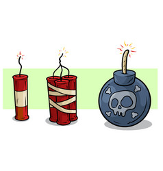 cartoon red dynamite and bomb with wick set vector image