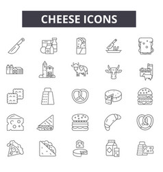 cheese line icons for web and mobile editable vector image