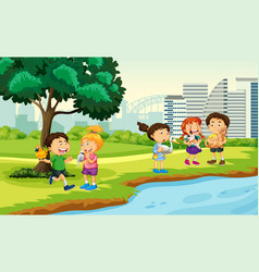 Children brings their pets to park scene vector