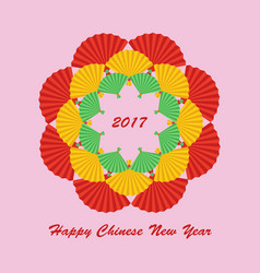 Chinese paper color fan vector