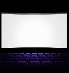 cinema hall with white screen and blue row chairs vector image