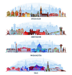 cityscapes stockholm amsterdam washington oslo vector image