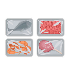 Collection food plastic tray containers with vector