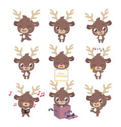 collection of cute little reindeer mascot poses vector image