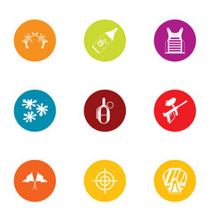 Combat training icons set flat style vector