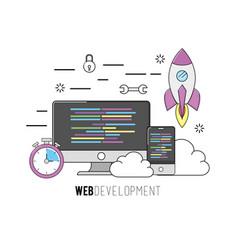computer and smartphone software code program vector image