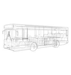 Concept city bus rendering of 3d vector