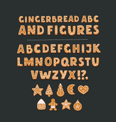 Cookie font with chocolate chips full alphabet vector