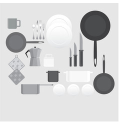 creative black and white kitchen equipment for vector image